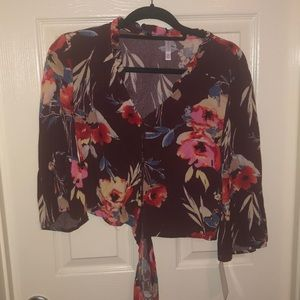 Floral button down tie top
